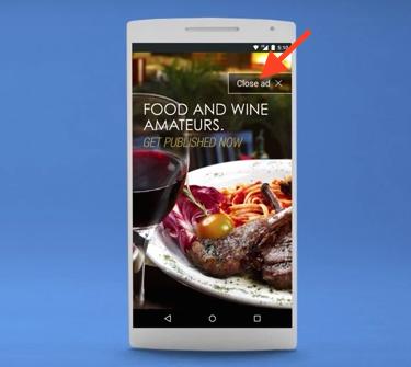 モバイル全画面広告表示例