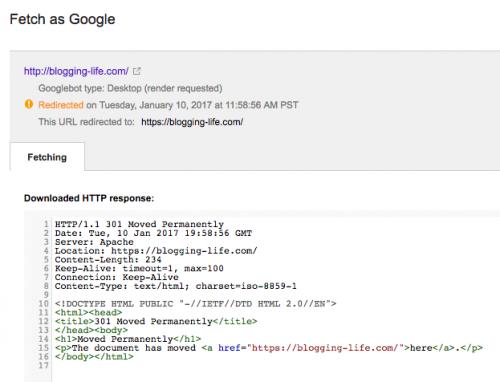 移行前のサイトからFetch as Googleを行ってリダイレクトの動作確認する