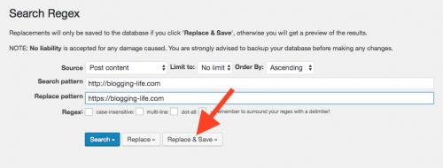 Search Regex置き換え実行画面