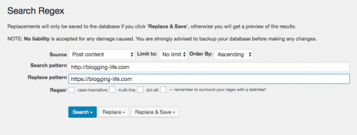 Search Regexに検索と置き換えワードを入力する