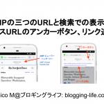 AMPページの三つのURLと検索表示AMPページにソースURLのアンカーボタン、リンク追加