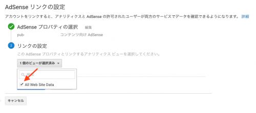 AdSense とリンクさせるアナリティクスビューを選択します